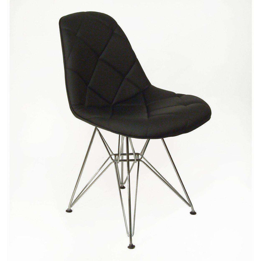 Mid Century Modern Black Mid Century Padded Dining Chair