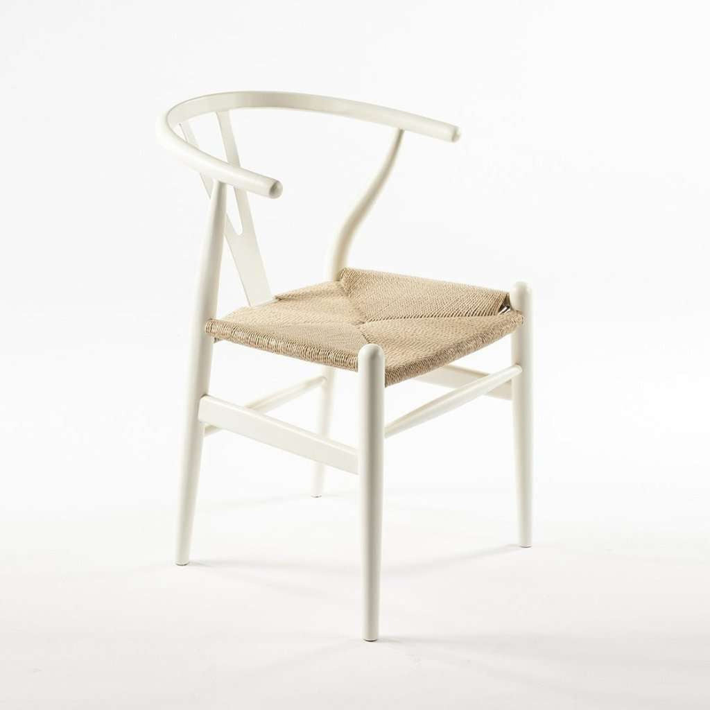 Mid-Century Modern Reproduction CH24 Wishbone Y Chair - White Inspired by Hans Wegner