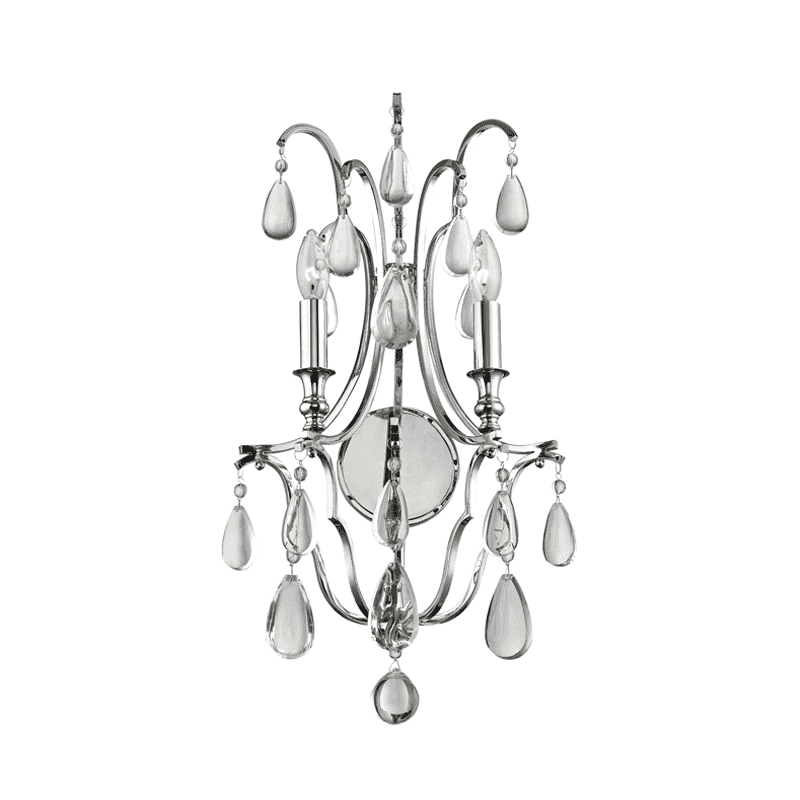 Crawford 2 Light Wall Sconce Polished Nickel