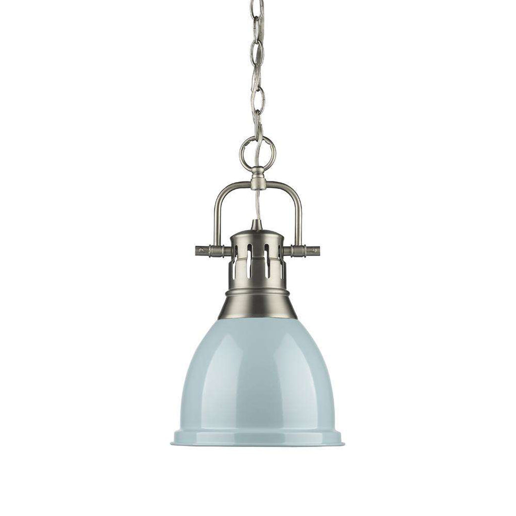 Duncan Small Pendant with Chain in Pewter with a Seafoam Shade