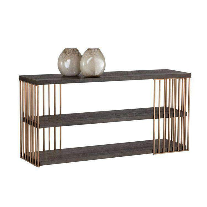 Daphane Console Table  - Rose Gold - Smoked Oak