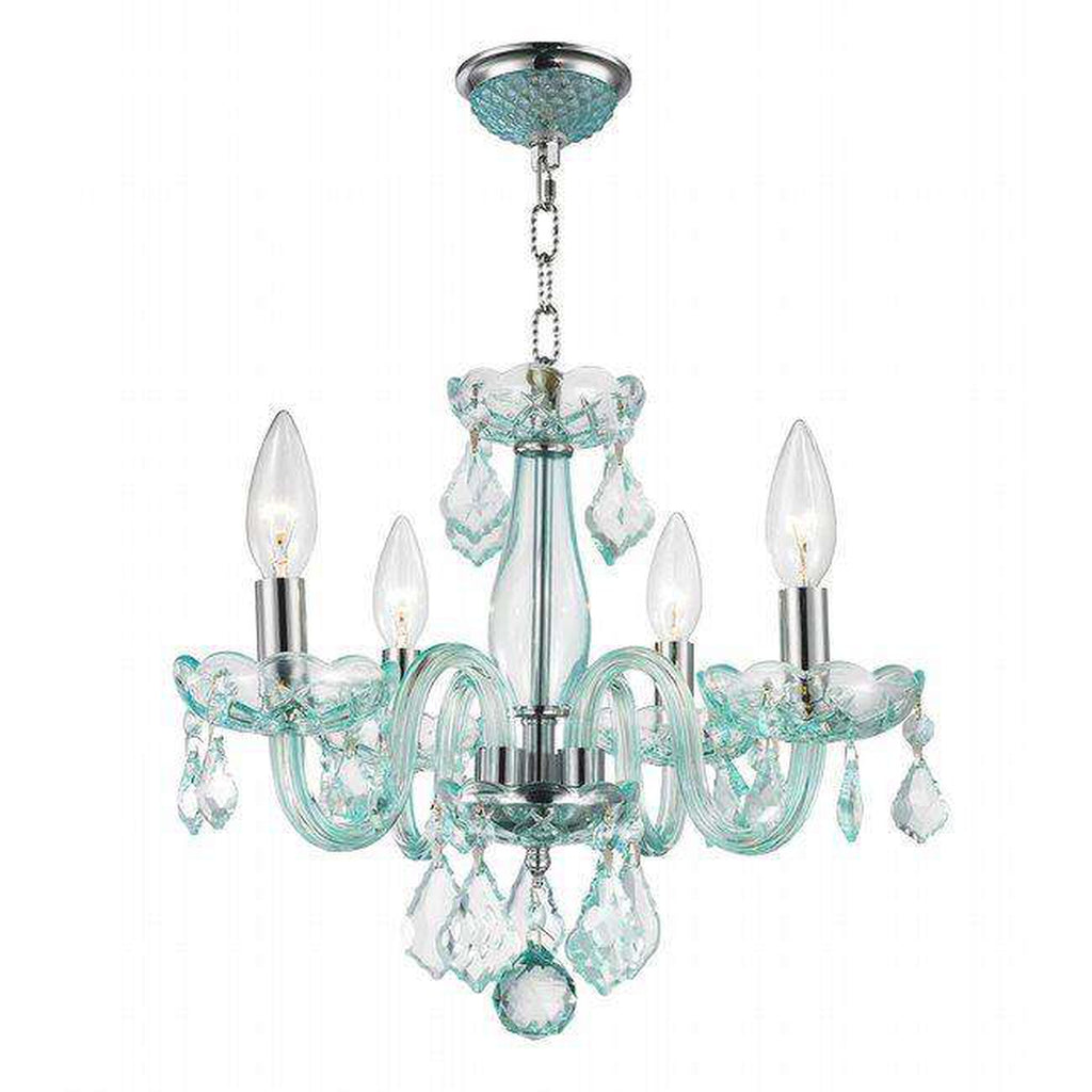 Clarion 4 Light Crystal Chandelier - Light Blue