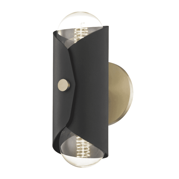 Immo 2 Light Wall Sconce - Aged Brass/Black