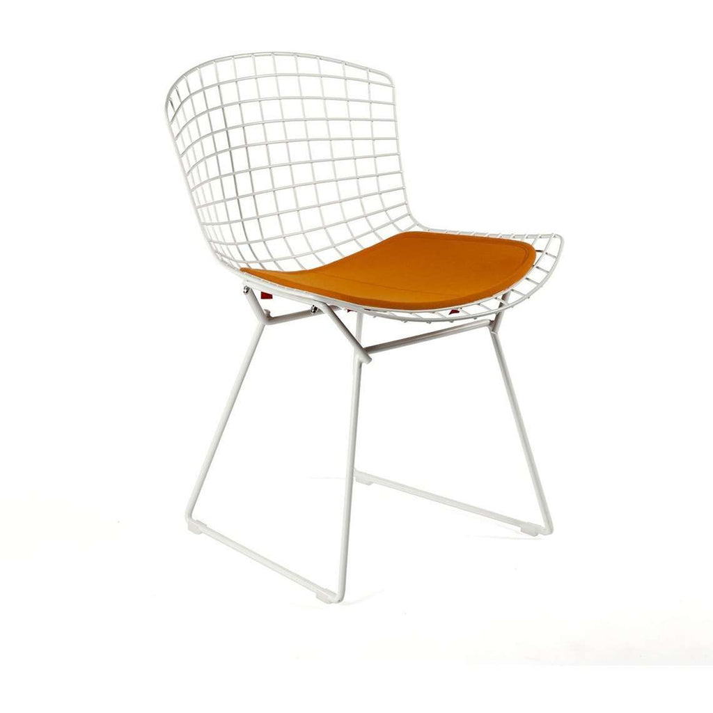 Bertoia Side Chair White with Orange Pad