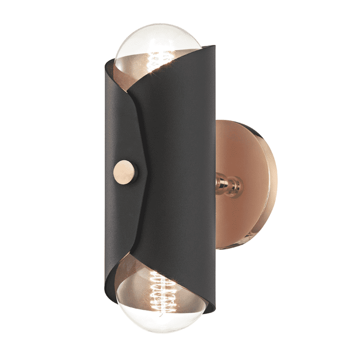 Immo 2 Light Wall Sconce - Polished Copper/Black