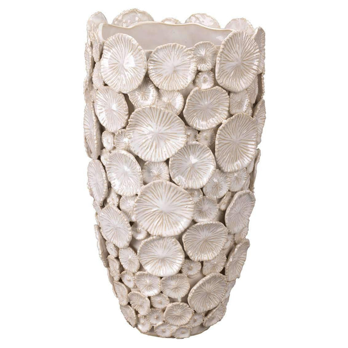 Mermaid Floral Vase in White Ceramic