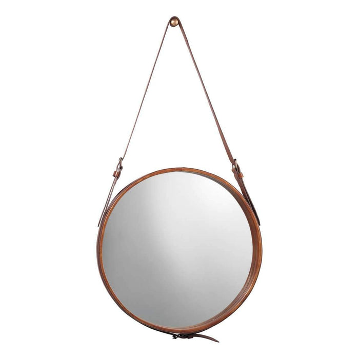 Large Round Mirror in Brown Leather