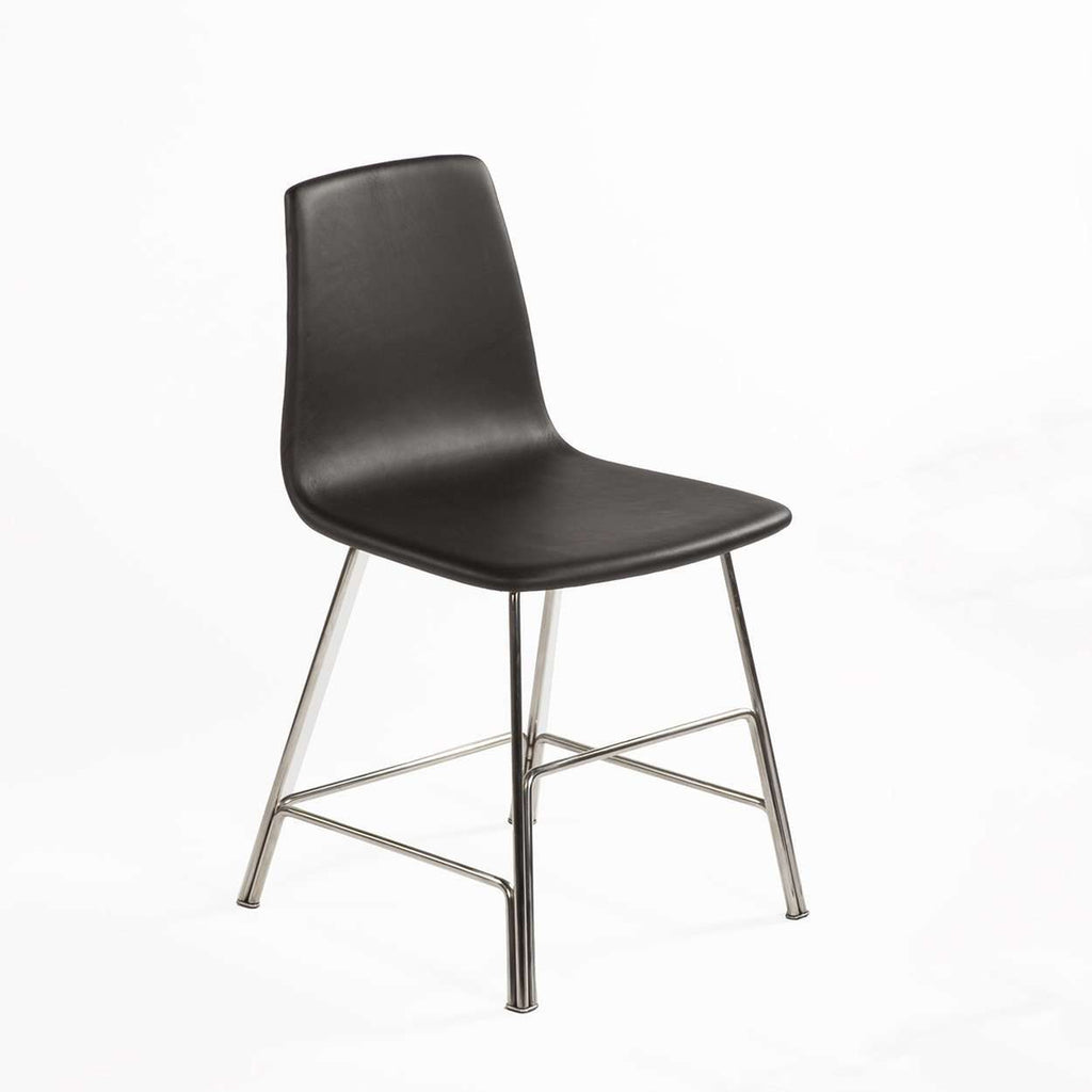 Modern Sean Dix Rod Side Chair - Black Leather and Walnut