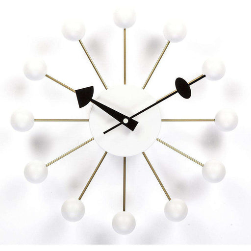 Mid-Century Modern Reproduction Ball Clock - White Inspired by George Nelson