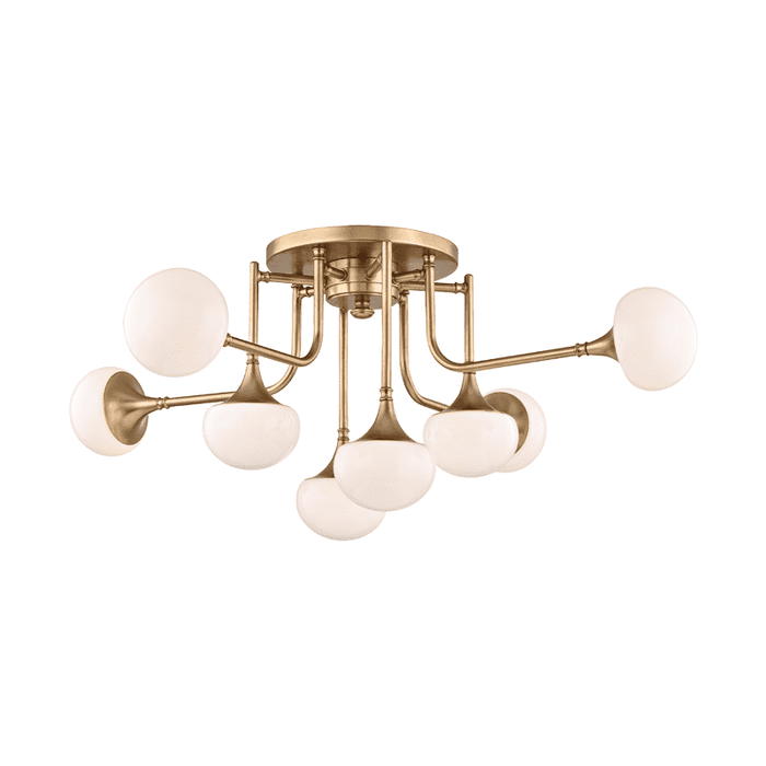 Fleming 8 Light Semi Flush Aged Brass