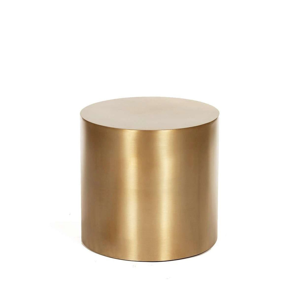 Superbe Modern Reproduction Brass Drum Side Table   Round Inspired By Milo Baughman
