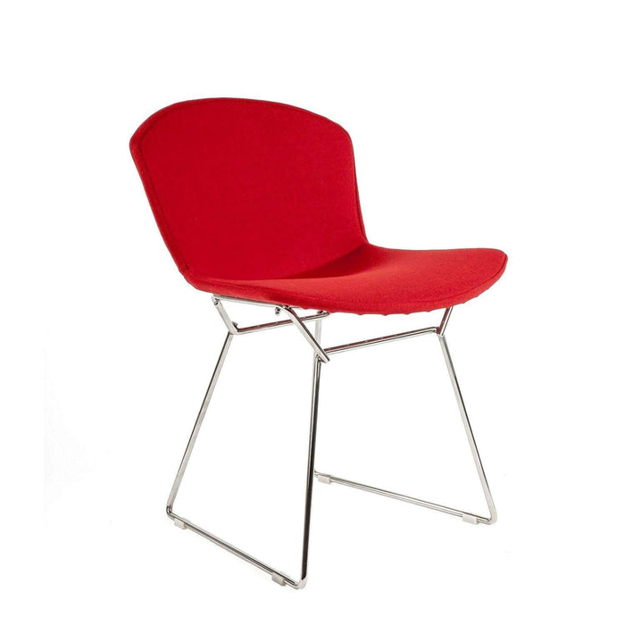 Mid-Century Modern Reproduction Bertoia Side Chair - Polished Stainless with Full Red Wool Upholstery Inspired by Harry Bertoia