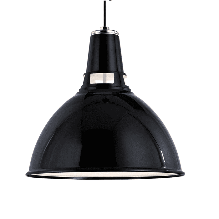 Lydney 1 Light Pendant Black/Polished Nickel