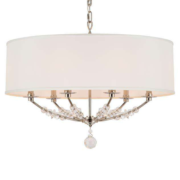 Mirage 6 Light Nickel Drum Shade Chandelier