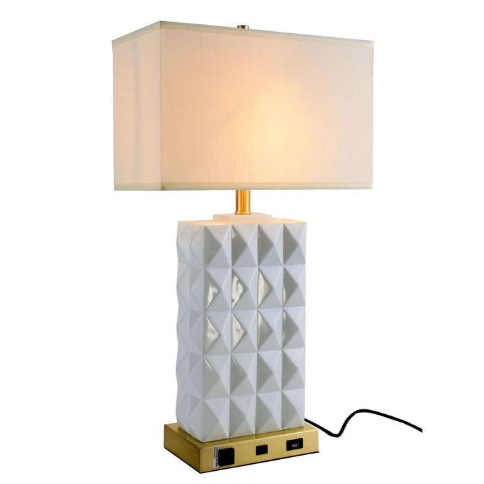 Brio Collection 1-Light Brushed Brass and White Finish Table Lamp