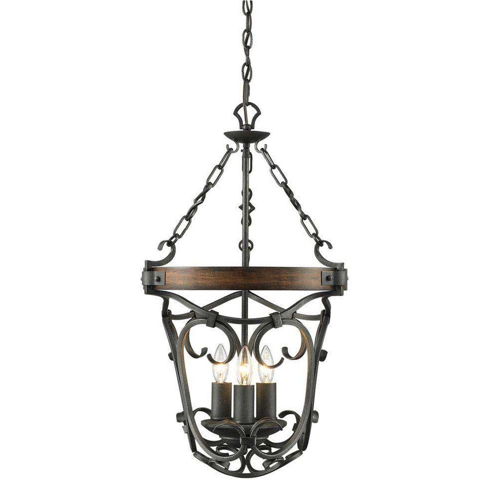 Madera 3 Light Pendant in Black Iron with