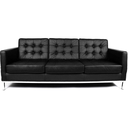 Mid Century Modern Reproduction Mid Century Tufted Sofa   Black Leather  Inspired By Florence Knoll ...
