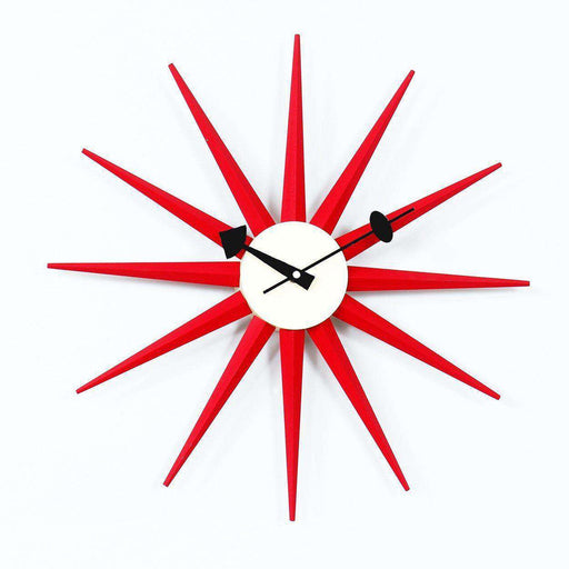 Mid-Century Modern Reproduction Sunburst Clock - Red Inspired by George Nelson