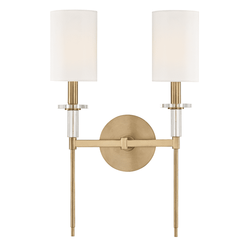 Amherst 2 Light Wall Sconce Aged Brass