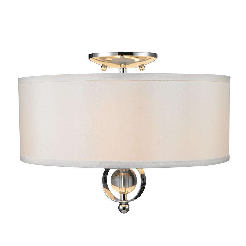 Cerchi Flush Mount in Chrome with Opal Satin Shade