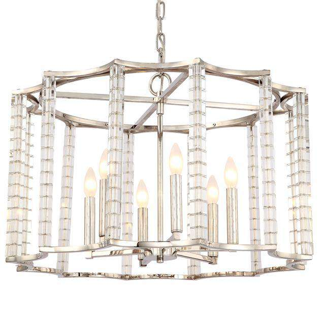 Carson Polished Nickel 6 Light Chandelier