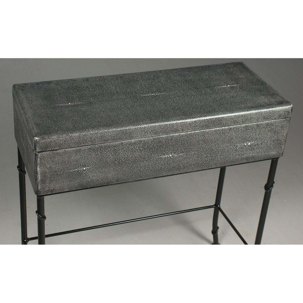 Grey Leather Shagreen Box On Stand