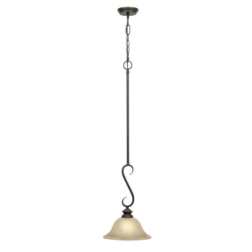 Lancaster Mini Pendant in Rubbed Bronze with Antique Marbled Glass