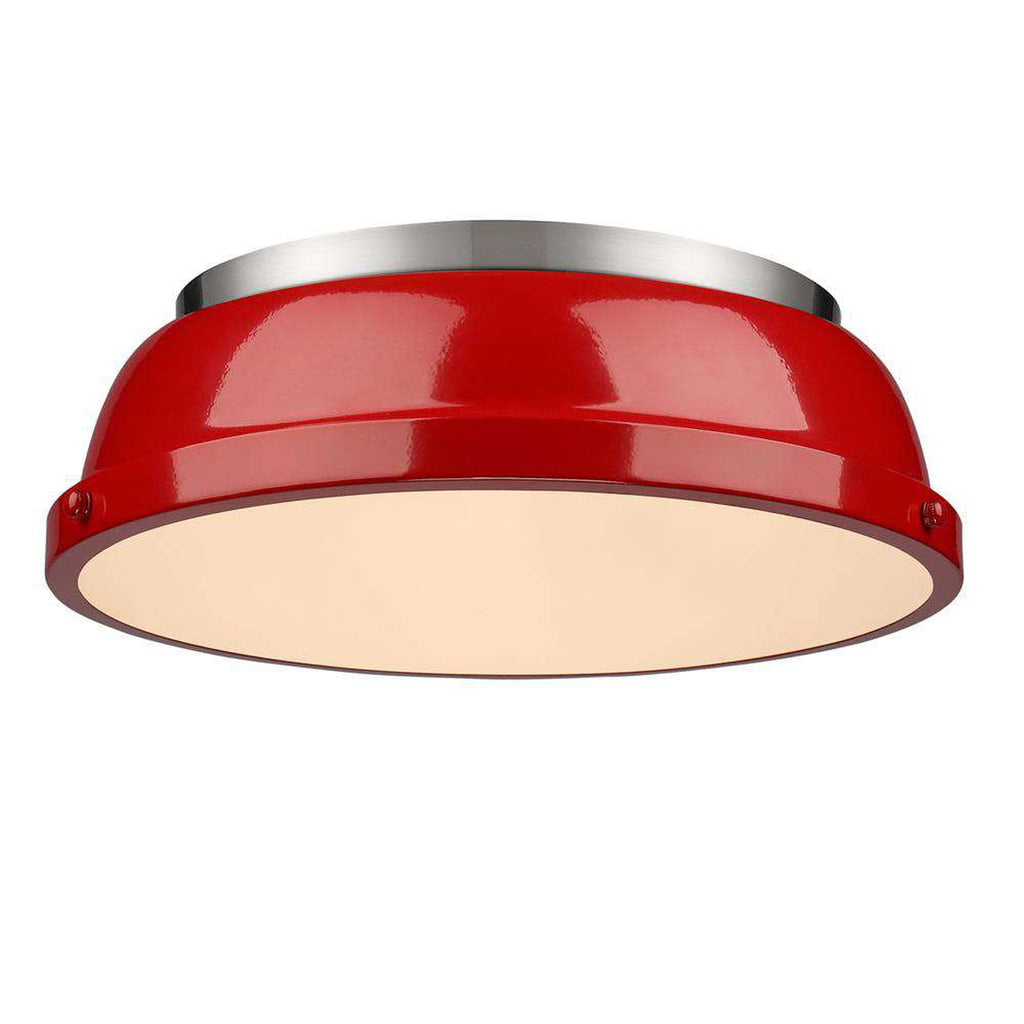 "Duncan Pewter Flush Mount 14"" - Red"