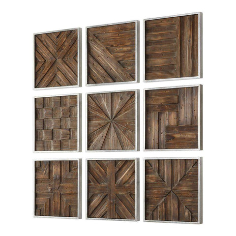 Uttermost 04115 Bryndle Rustic Wooden Squares, Set of Nine