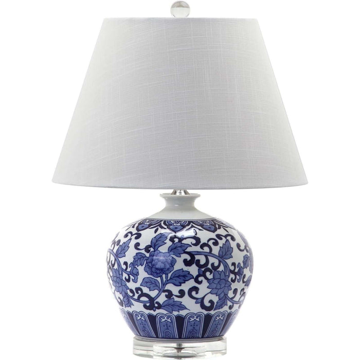 "20.5""H Rose Pattern Blue & White Round Table Lamp"