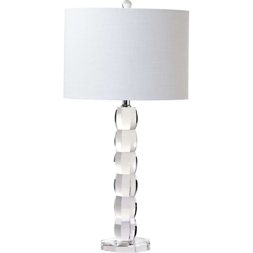 "28""H Stacked Round Hex Crystal Table Lamp"