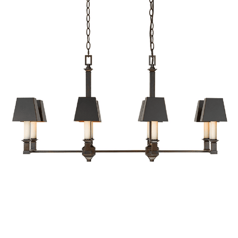 Bradley Linear Pendant in Cordoban Bronze with Black Shades