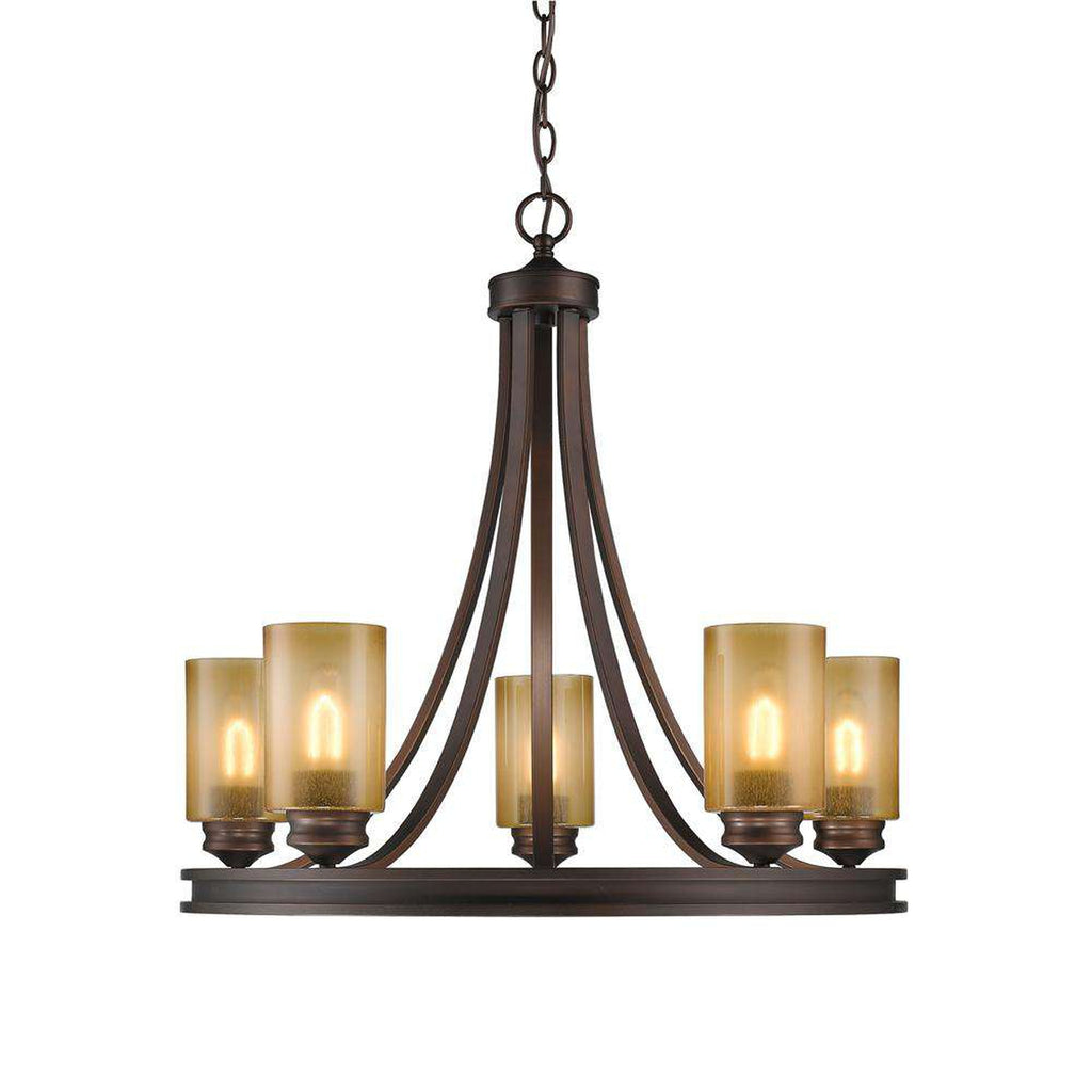 Hidalgo 5 Light Chandelier in Sovereign Bronze with Regal Glass