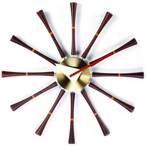 Mid-Century Modern Reproduction Spindle Clock Inspired by George Nelson