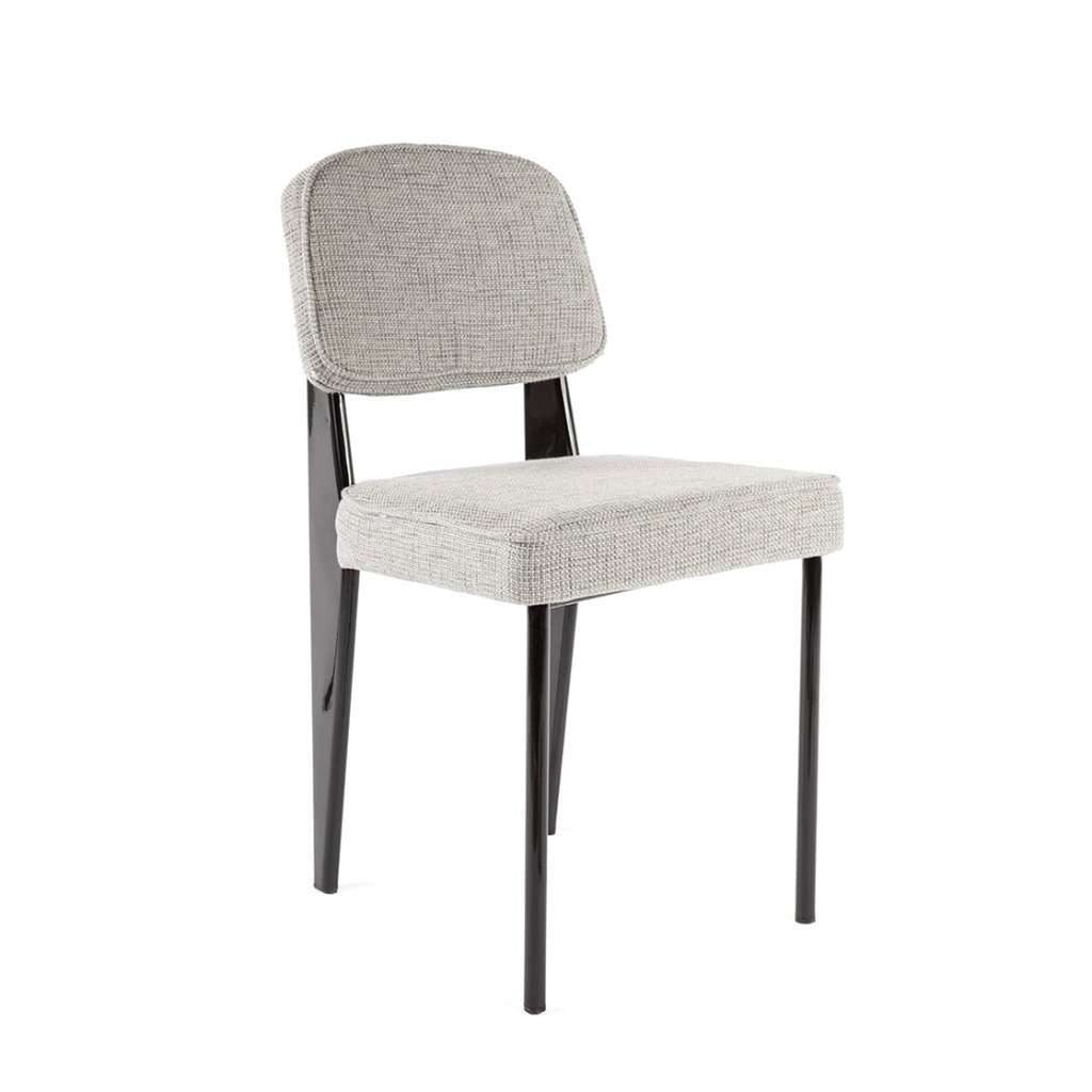 Modern Reproduction Standard Chair - Black with Grey Upholstered Seat Inspired by Jean Prouve