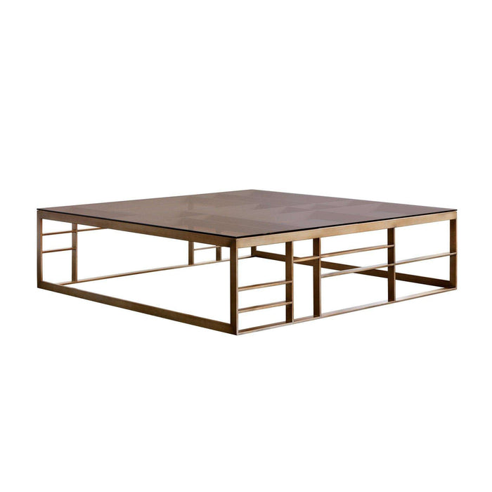 Joanna Coffee Table - Square - Antique Brass - Brown Glass