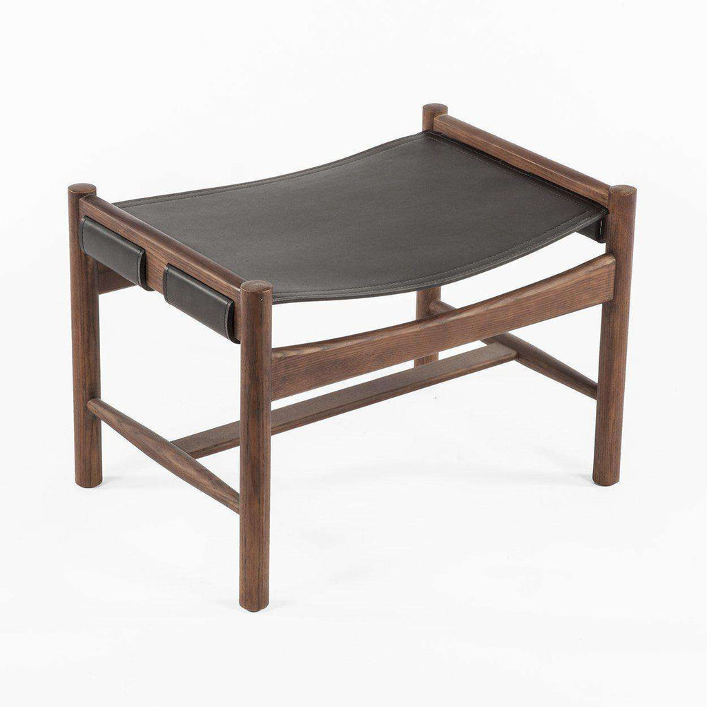 Mid-Century Modern Reproduction Soen Mid Century Ottoman with Charcoal Grey Sling Inspired by Finn Juhl