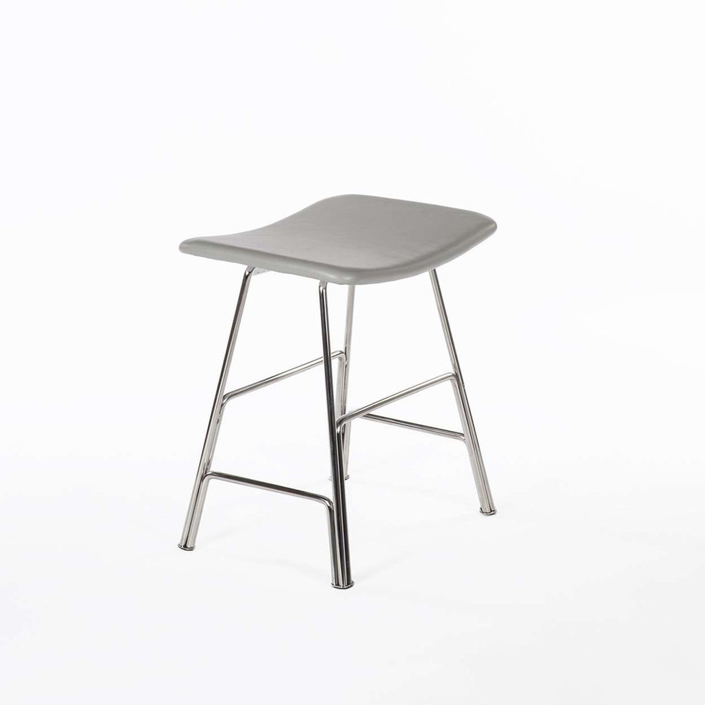 Modern Sean Dix You Dining Stool - Grey Leather and Walnut