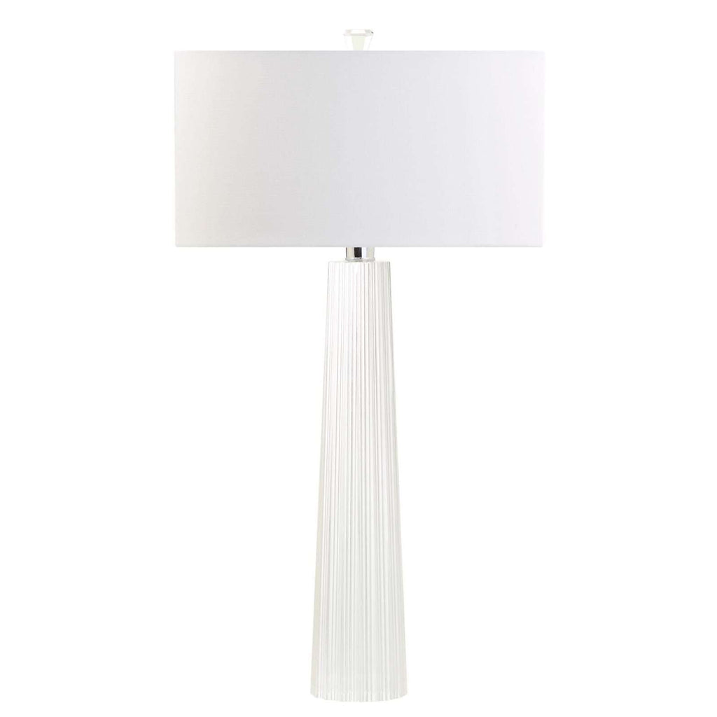 "31""H Carved Crystal Tapered Column Table Lamp"
