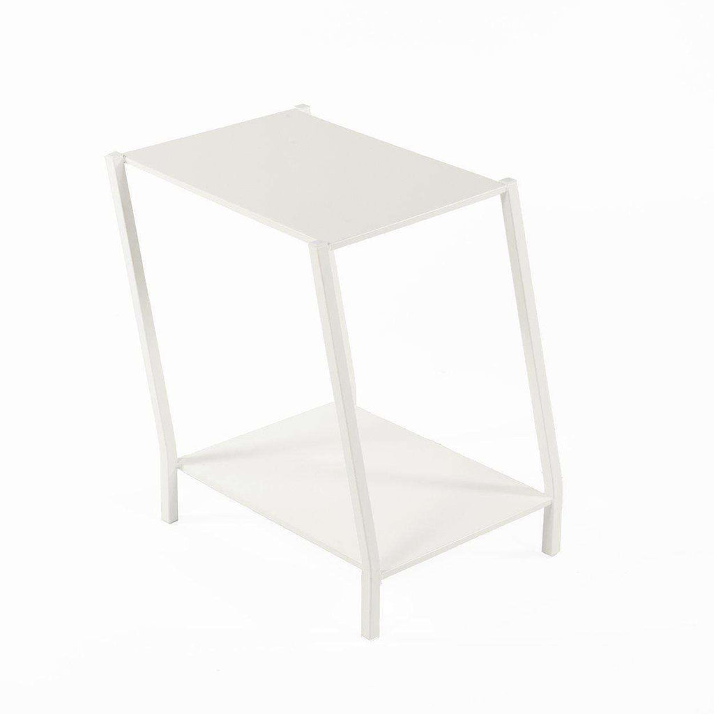 Modern Two Tier Staggered End Table-White
