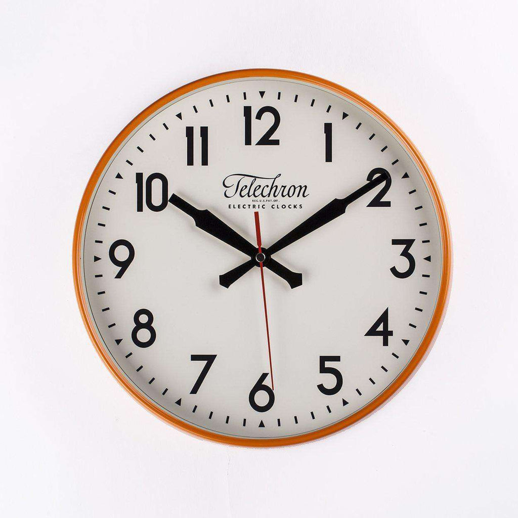 Mid Century Modern Corby Wall Clock - Orange
