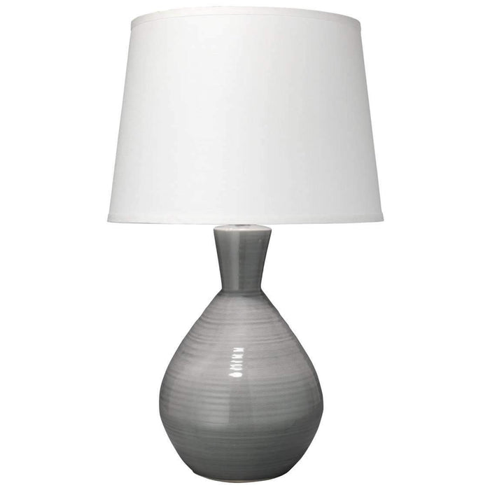 Ash Table Lamp in Grey Ceramic with Large Cone Shade in White Linen