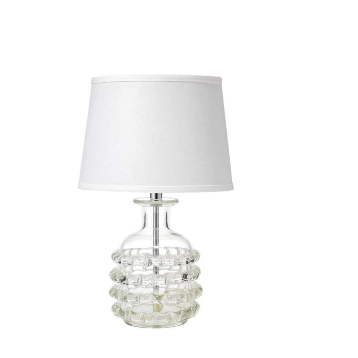 Ribbon Table Lamp in Clear Glass with Small Open Cone Shade in White Linen
