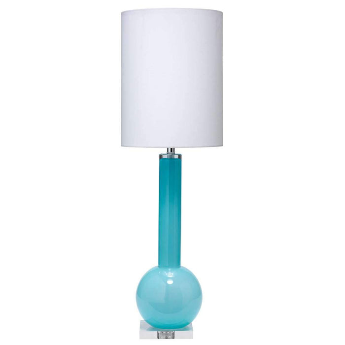 Studio Table Lamp in Powder Blue Glass with Tall Thin Drum Shade in White Linen