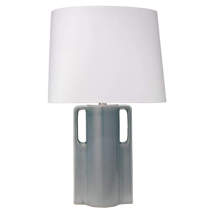 Woodstock Table Lamp in Mist Blue Glass with Oval Rectangle Shade in White Linen