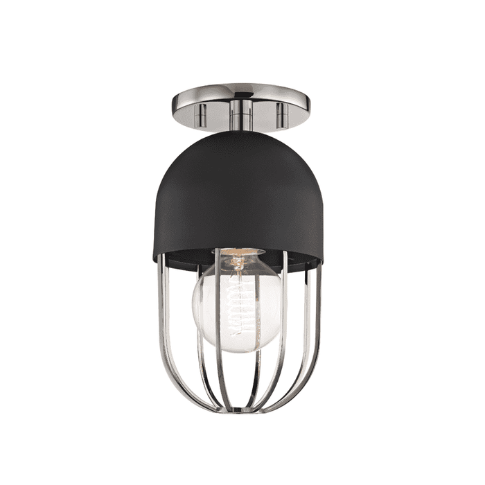 Haley 1 Light Flush Mount - Polished Nickel/Black