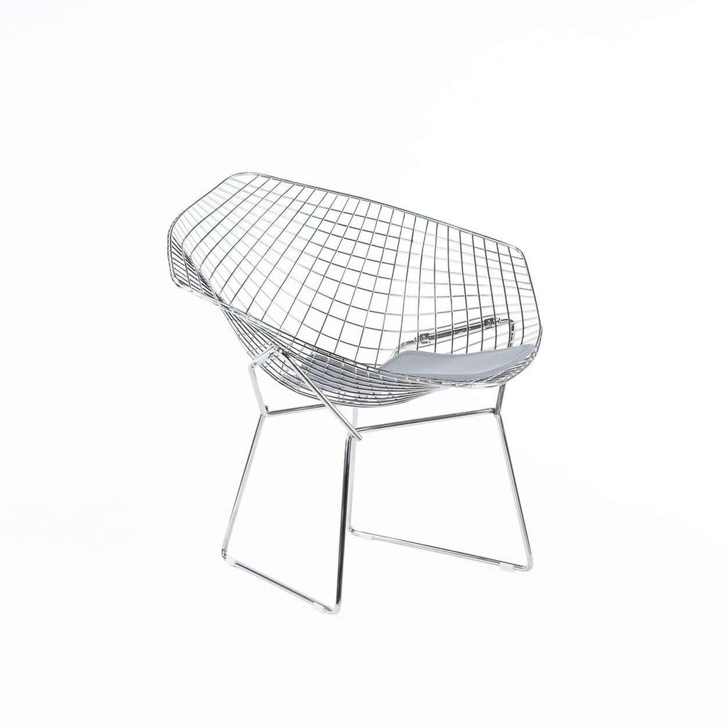 Mid-Century Modern Reproduction Diamond Chair - Grey Wool Pad Inspired by Harry Bertoia