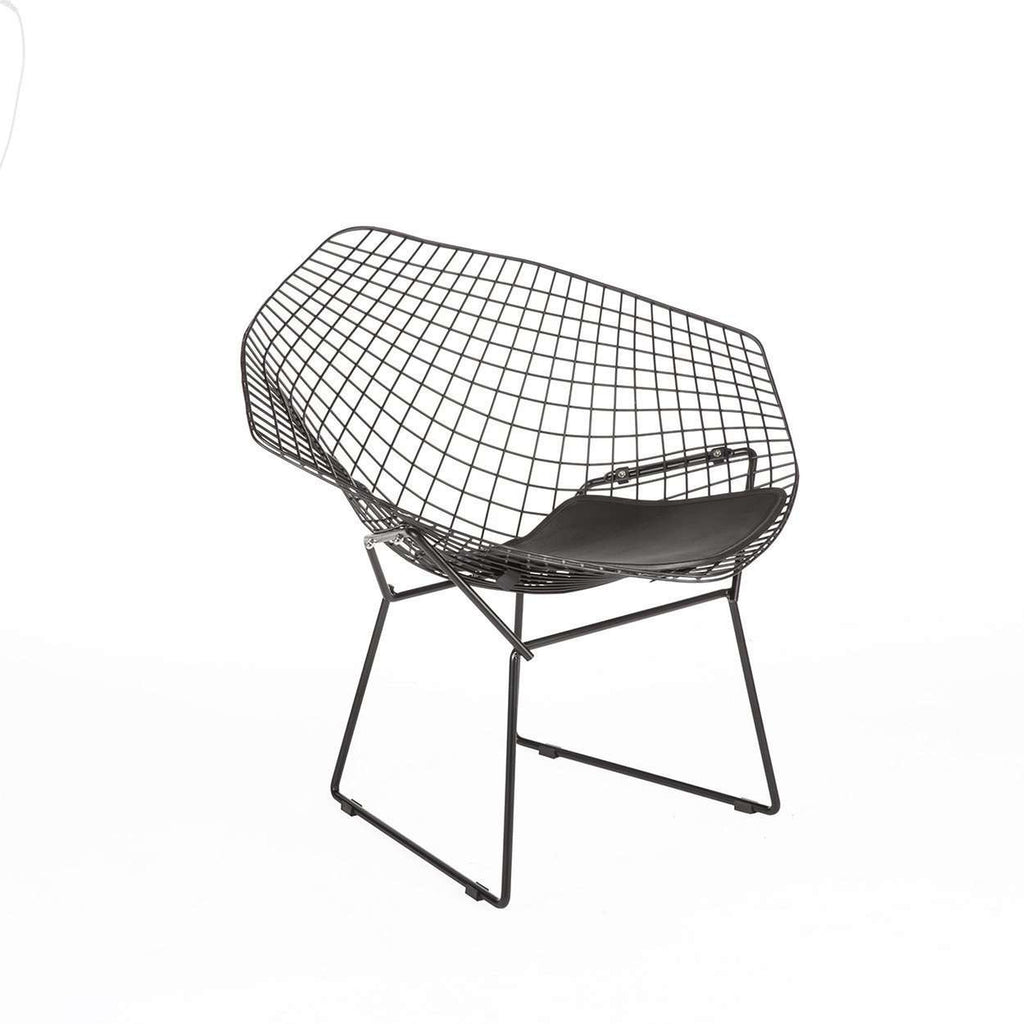 Mid Century Modern Reproduction Diamond Chair   Black Leather Inspired By Harry  Bertoia