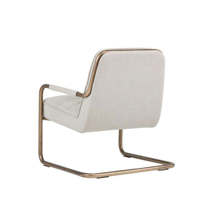 LINCOLN LOUNGE CHAIR - RUSTIC BRONZE - BEIGE LINEN FABRIC