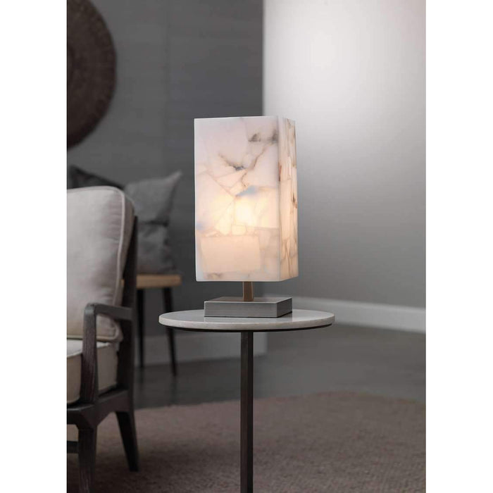 Ghost Axis Table Lamp in Alabaster & Antique Silver